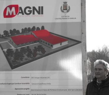 The foundation stone for the Pietro Magni elementary school